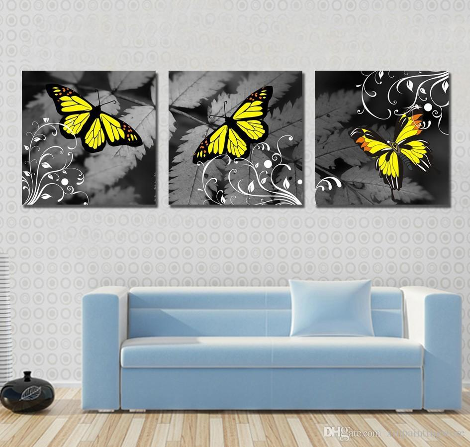 Modern Grey Background Butterfly Canvas Painting Butterfly Abstract Oil Painting Tableau Pictures Wall Picture Room