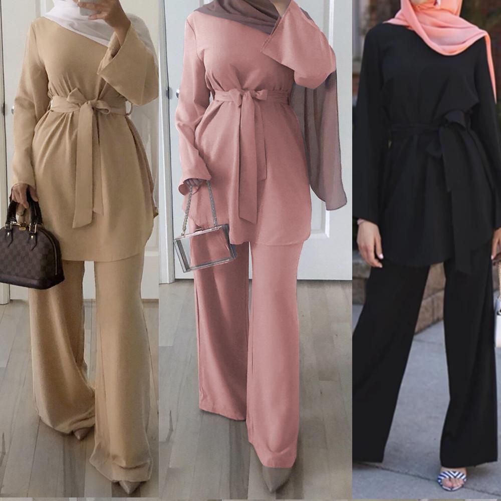 Abaya Dubai Robe 2019 Herbst-Mode-moslemische Frauen Langarm Tops + breite Beinhosen zwei Stücke gesetzt arabischen beiläufige Klage Islam Kleidung