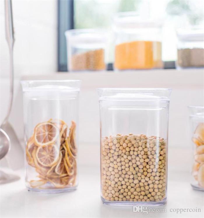 Alimentos recipiente de armazenamento de tamanho M quadrado de plástico caixa de armazenamento de cozinha de armazenamento multigrain transparentes material de cozinha selados