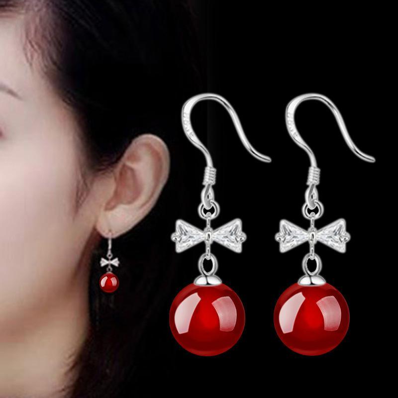 Bonito moda Adorável Red Cherry Brincos vermelho preto pedra ágata strass bowknot cristal Bead brincos para a mulher Jóias 350018