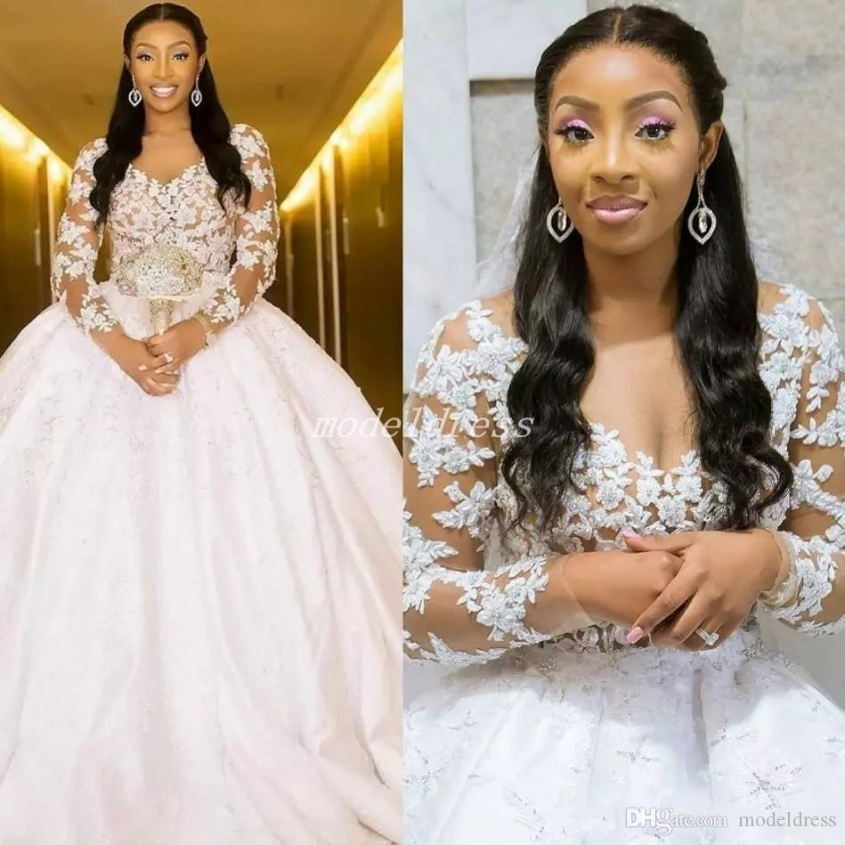See Through Lace Ball Gown Wedding Dresses 2019 Long Sleeve Sweep Train Applique Beads Chapel Garden Bridal Gowns Plus Size vestido de novia