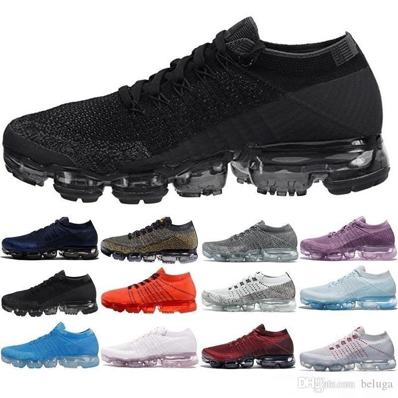 vapor 2018 Les novedades Vapores Mujeres mens triples negros blancos rojos entrenadores deportivos diseñadores zapatillas de deporte corrientes Maxes tamaño de los zapatos 5,5-11