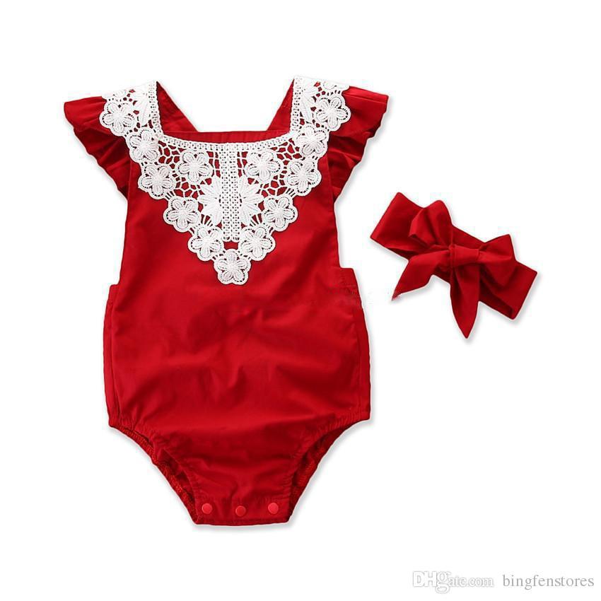 Bebek Kız Kırmızı Romper Çocuklar Dantel çiçek Yaz bodysuit Toddler Tatlı Kırmızı Giysiler 2-6 T için 4 Boyutu