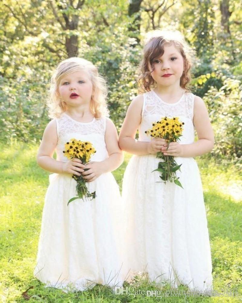 Custom Feito Full Lace Country Flower Girl Vestidos para Casamentos Novo Boho Boho Pequeno Bebê Comunhão Vestido Uma Linha Crianças Formal Wear