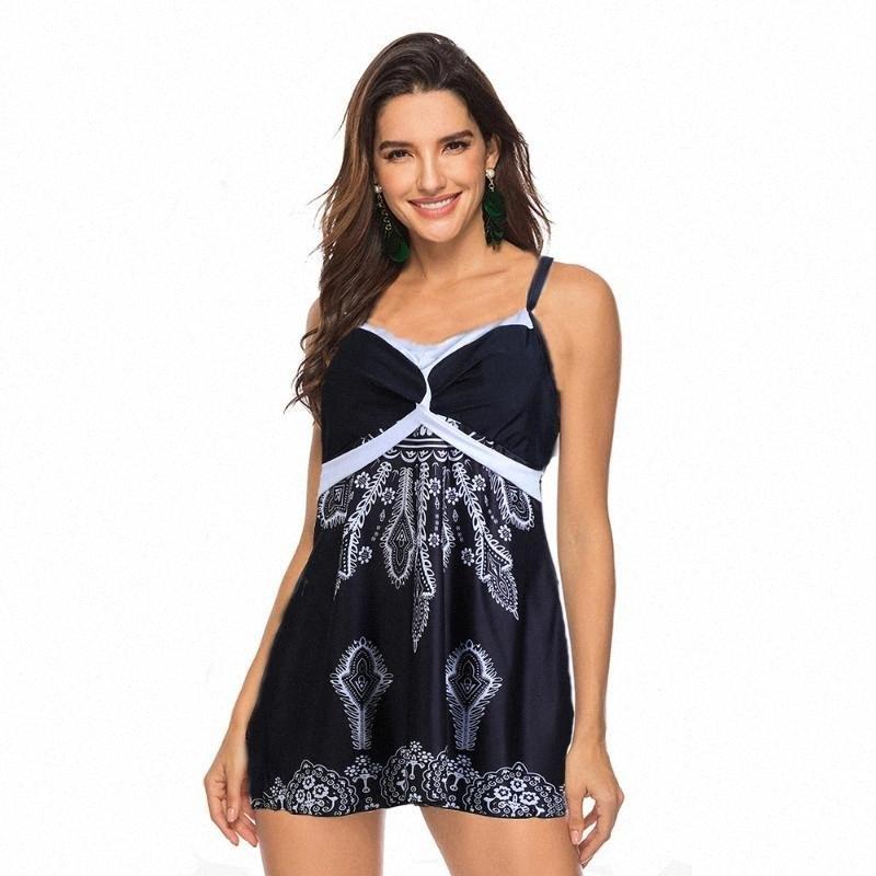 S-5XL del traje de baño más del tamaño del traje de baño de dos piezas de las mujeres imprimen gran desgaste grande de grasa para mujeres falda para las brasileño Tankini sistema del vestido de la nadada 9rik #