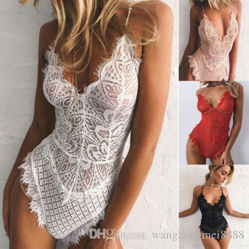 Été sexy lingerie en dentelle solide robe licol cou babydoll femmes sous-vêtements vêtements de nuit vêtements de nuit Teddies Body chaud