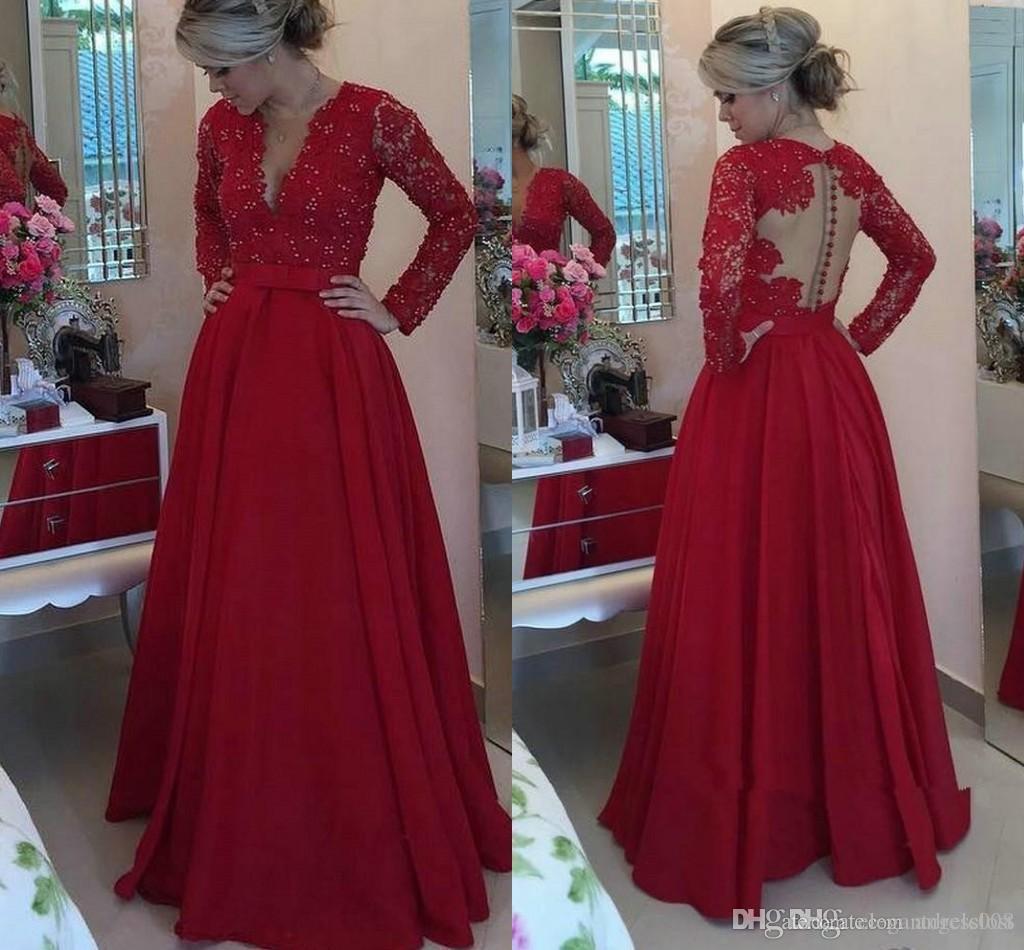 Red Long Sleeve A Line Ballkleider Jewel Covered Button Zurück Sweep Zug Spitze Appliques Perlen Lange Formale Abendgesellschaft Kleider Vestidos