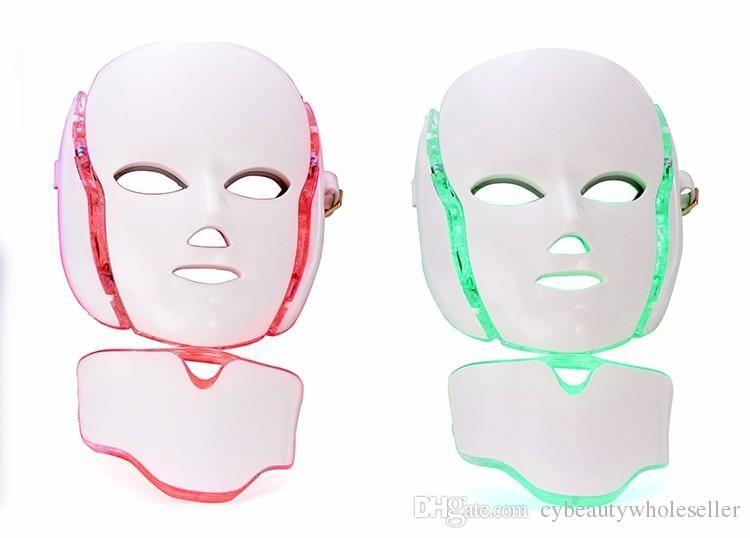 7 цветных светодиодных маска для шеи с EMS микроэлектроника светодиодная фотонная маска удаление морщин от прыщей омоложение кожи лица красоты спа