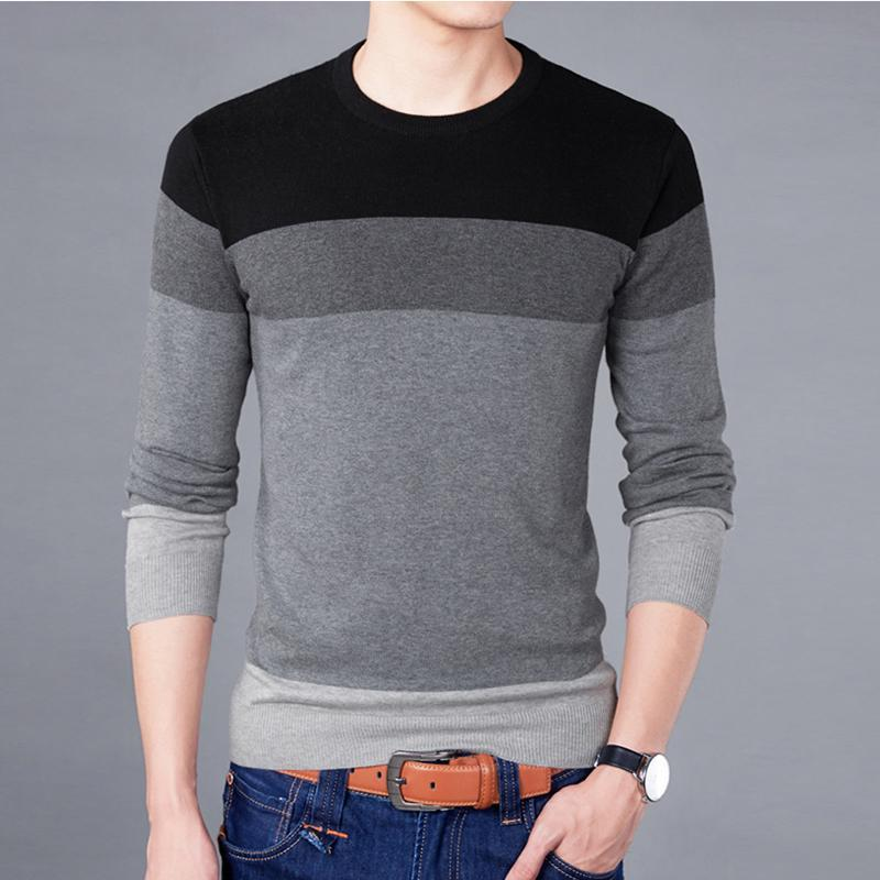 Nova Camisola Men Outono Qualidade inverno algodão macio pulôver Homme O -Pescoço Patchwork Casual Men Moda 'S camisola Bsethlra