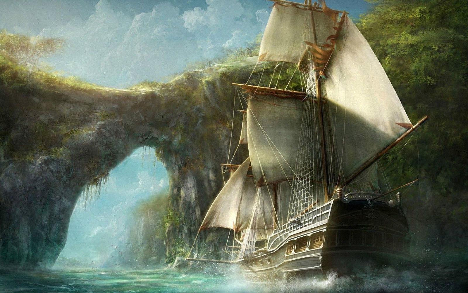 Pirate Ship Sailing the High Seas to Treasure Island Art Silk Print Poster 24x36inch(60x90cm) 089