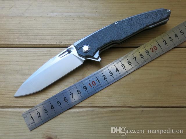 Projeto original BlackHawk D2 Lâmina CNC TC4 Titanium Fiber Alloy Carbono Handle Fillper EDC Tactical Outdoor Survival combate faca dobrável