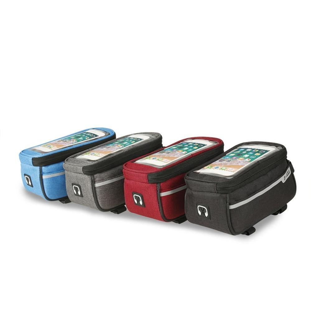 Waterproof Bicycle Bag Touch Screen Bag Cycling Bike Frame Phone Front Tube Storage for 6 Inch Smartphones