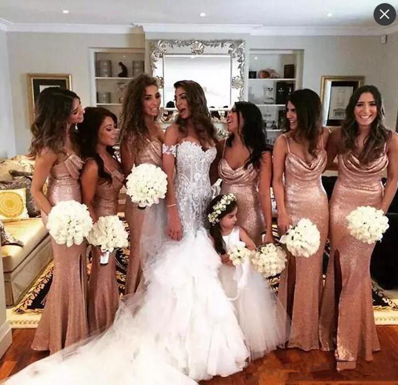 Сверкающие розовые золотые блестки русалки длинные платья подружки невесты спагетти ремни Ruched боковой сплит длинные свадьбы гостевые платья горничные платья