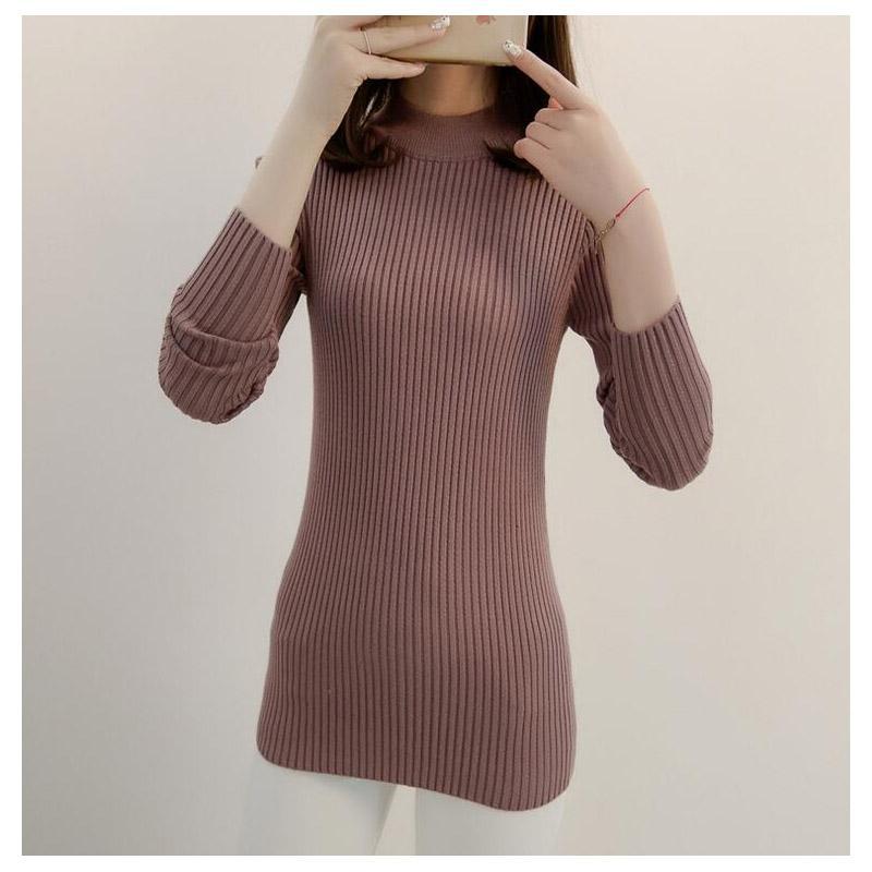 las mujeres ocasionales de invierno otoño gruesos suéteres suéter de manga larga de cuello alto suéter Mujer elegante tapa delgada punto las tapas de arranque suave