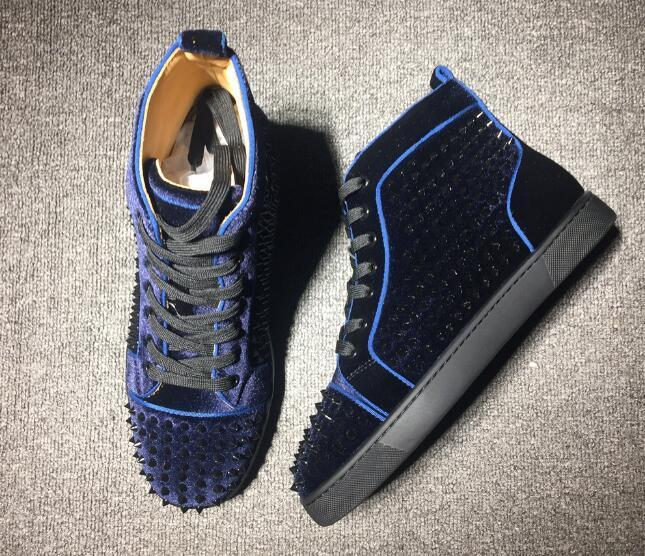 Mulheres Red Sole Sneakers / Black Velvet Sneakers Louspiked parte inferior vermelha Shoes Spikes Plano Homens, Luxury Party Dress Casual Shoes3