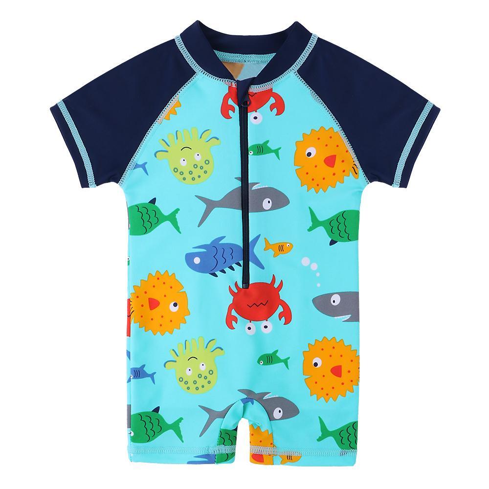 소년은 어린이를위한 만화 패턴 유아 소년 수영복 한 조각 수영 착용 귀여운 아이들 아기 수영복 수영복