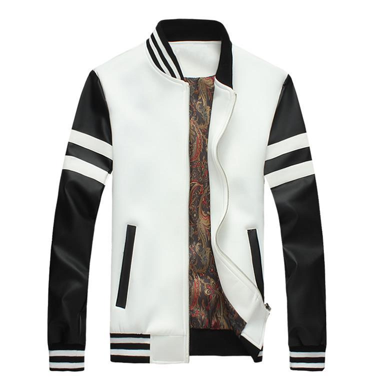 Plus Size 5XL Bomber Jacket Men Baseball Veste en cuir noir blanc Mode PU Veste d'hiver et d'automne Manteaux Casual Homme Manteau