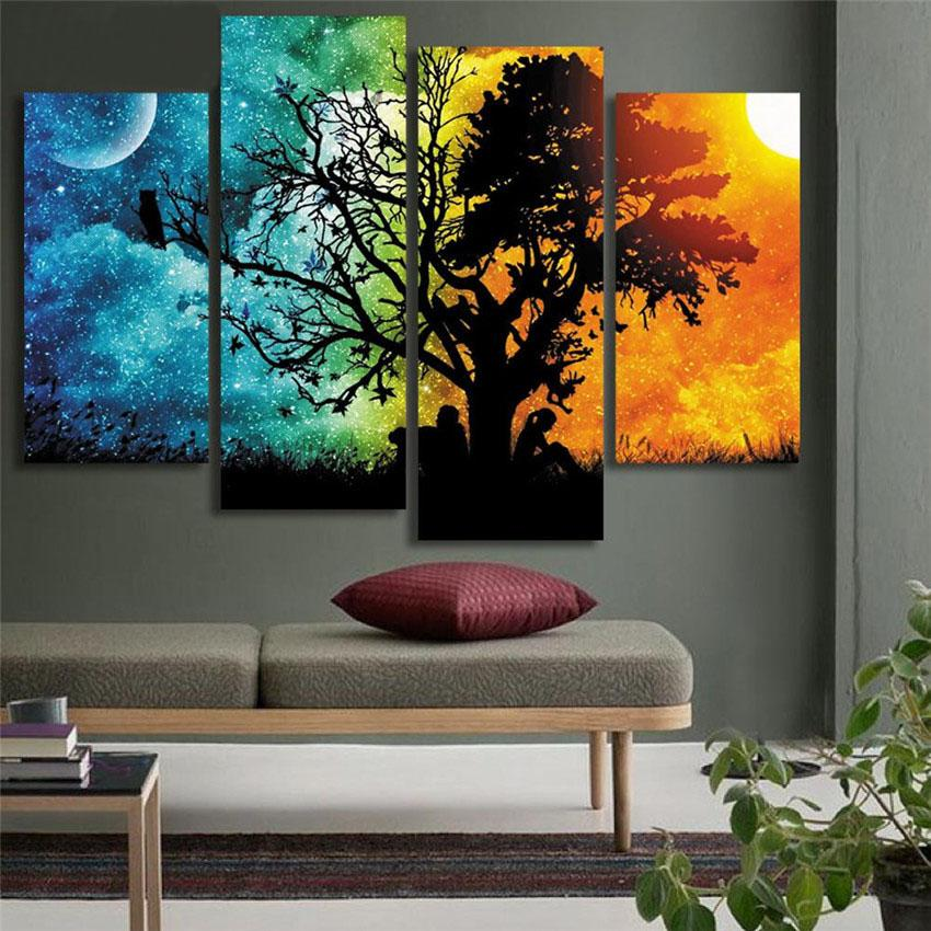 Moon Sun Tree Lovers Wall Paintings Dreamy Printed On Canvas Cuadros Abstractos For Home Decor Sofa Background Wedding Gift