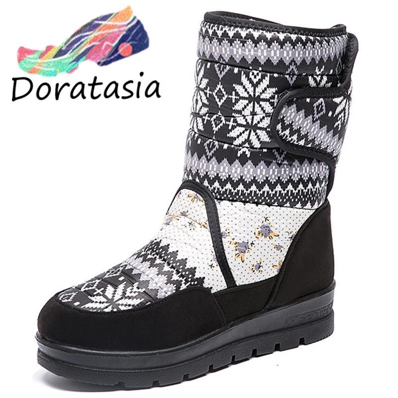 DORATASIA Nuovo 35-41 Fashion stampa piane dei bottini della piattaforma delle signore neve calda della caviglia Stivali Donne 2019 Inverno Zeppe Scarpe Donna