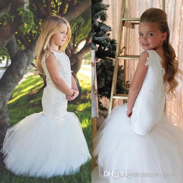New White Mermaid Flower Girls Dresses Tulle Ball Gown Train Lace Applique Beads Little Girls Pageant Dress Holy Communion Dress Custom Made