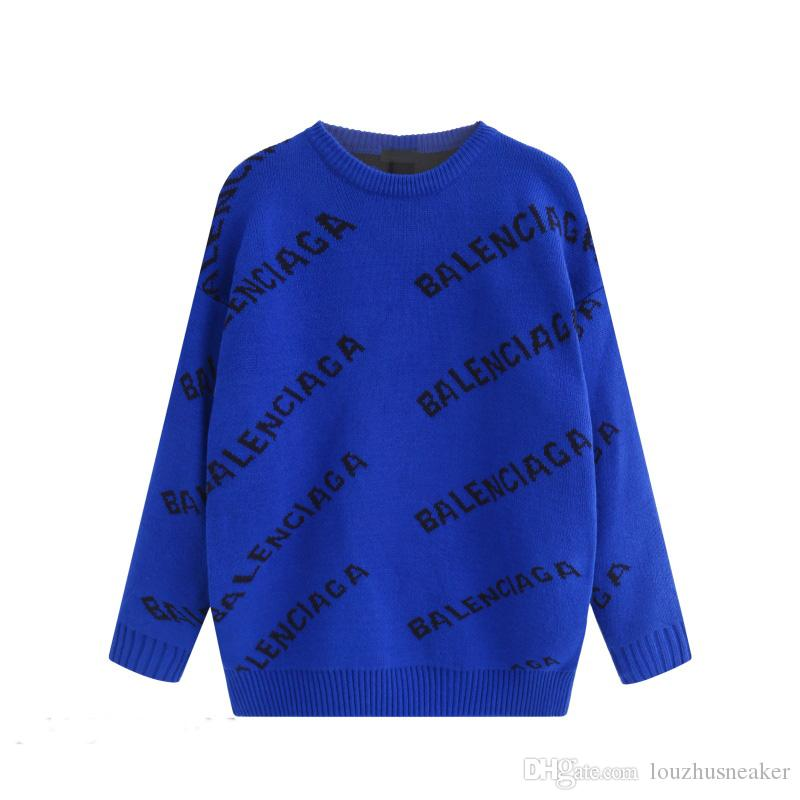 19Fashion Sweater Pullover Men's Top Hoodie Long Sleeve Loose Sweatshirt Letter Embroidered Knit Coat