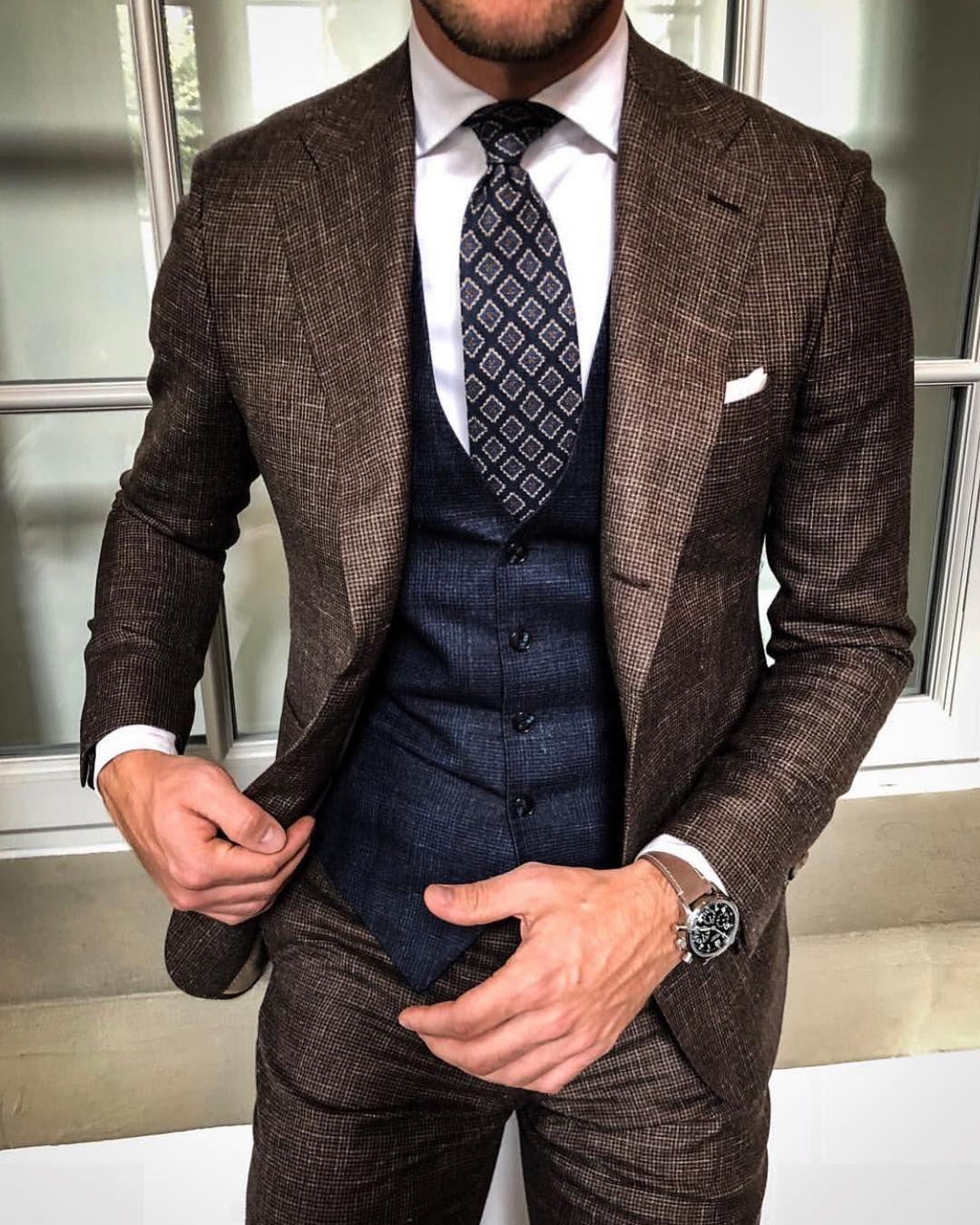 İki adet Kahverengi Erkek Casual Leisure (Ceket + Pantolon) için Fomal Durum Balıksırtı Tweed Suit Blazer Ceket Smokin Groom Suits