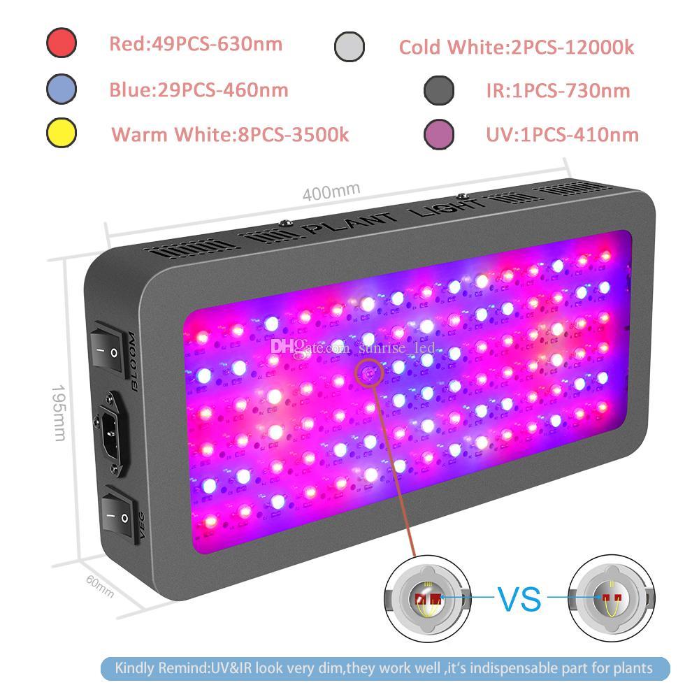 heißen Verkauf Doppel-Chips 900w Vollspektrum LED wachsen Lichter für hydroponische Indoor Pflanzen wachsen VEG / BLOOM