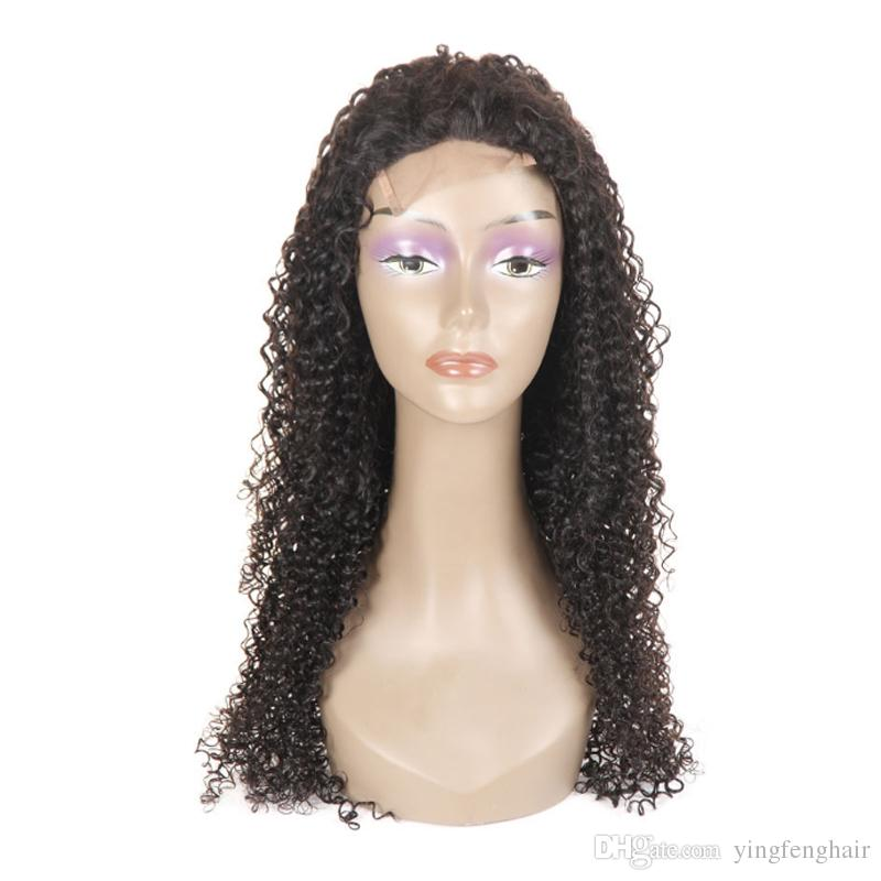 Hot Popular human hair wig Natural Soft Black Curly Wavy 360 lace wig Long Cheap Wigs with Baby Hair hair vendor