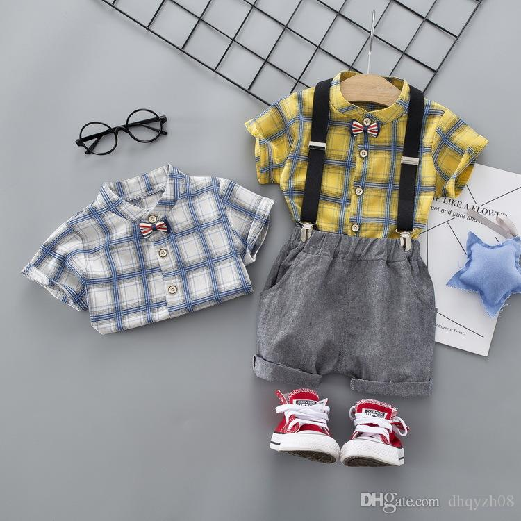New Boy Baby Set T-Shirt + Bib Pants Fashion Plaid Pattern Handsome Children's Wear Cotton Design Hot Products 2 Color Free Shipping
