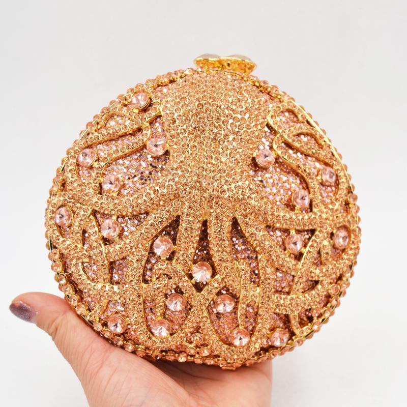حقائب النساء مساء الحيوان الأخطبوط الذهب الكريستال الفاصل حقيبة الأزياء الماس عشاء السيدات حقيبة حزب حفلة موسيقية محفظة SC056