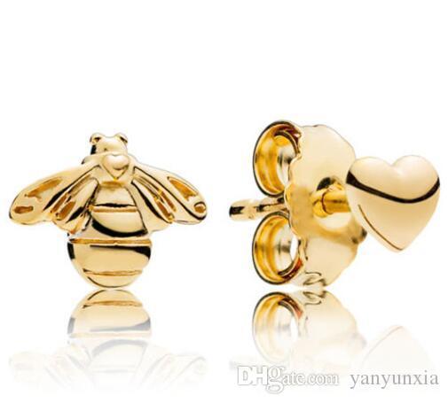 الأصلي 925 فضة القرط الذهبي النحل والقلب الأزرار أقراط للمجوهرات حفل زفاف النساء هدية الأزياء
