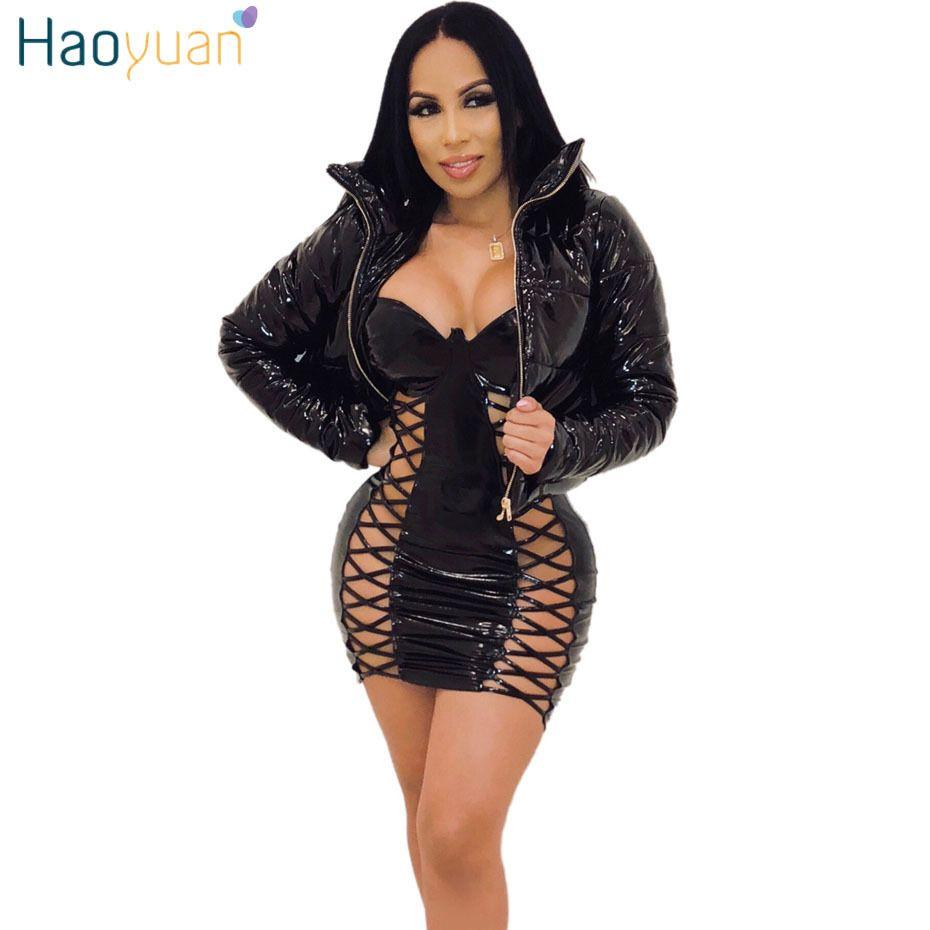 Зимняя женская теплая одежда тонкая короткая куртка на молнии с капюшоном верхняя одежда искусственная кожа с длинным рукавом пиджак пальто C19041602