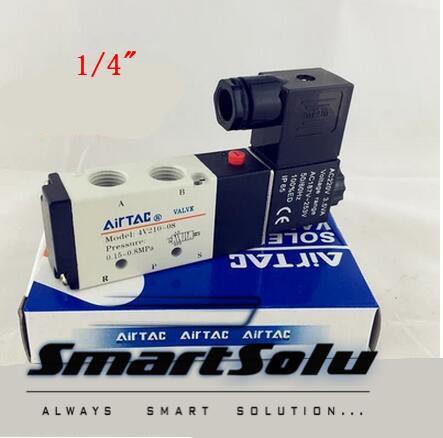 transporte livre Airtac válvulas solenóide 2 4V210-08 maneira posição 5 de controlo pneumático válvula 12v 24v 110v 220v