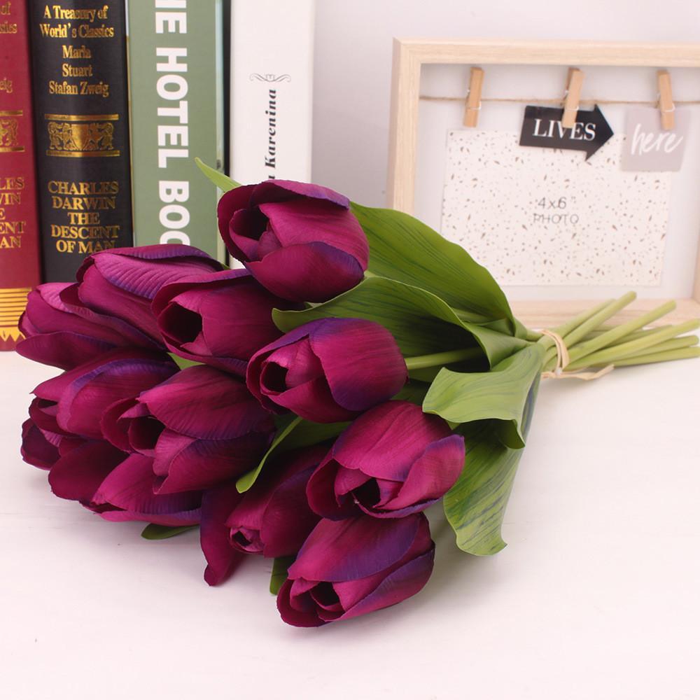 12PCS Tulip Artificial Flower Latex nupcial real Bouquet Casamento Casa decoração bonita e elegante