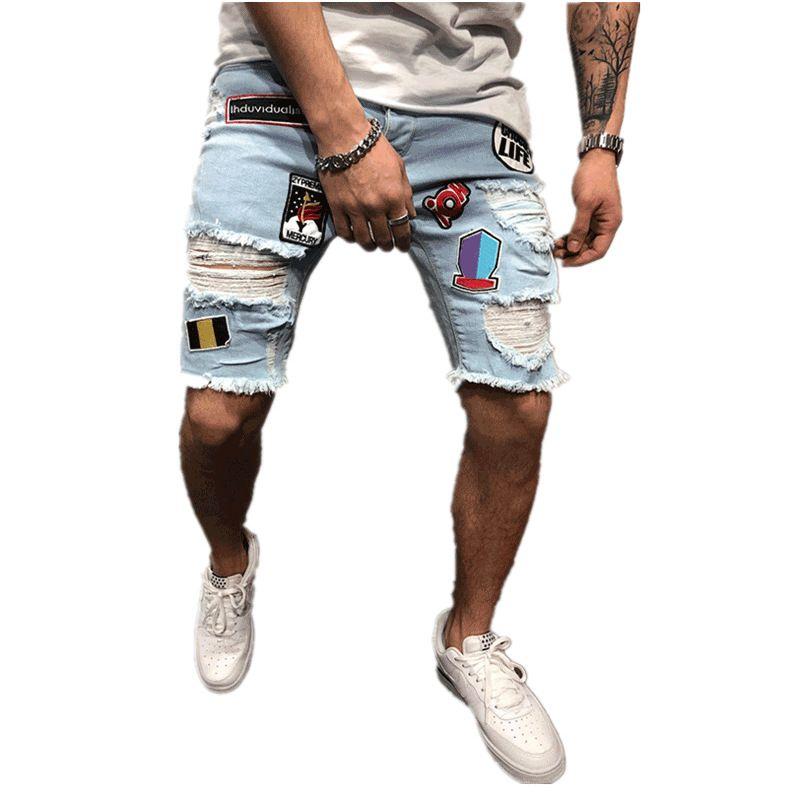 Erkek Stilist Kot Şort Moda Yaz Fermuar Delik Kısa Erkek İnce Pantolon Hip Hop Erkek Kısa Kot Mavi