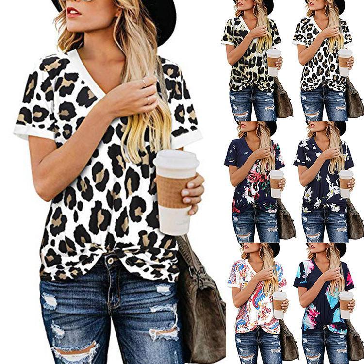 Noticias de manga corta de las mujeres con cuello en V de leopardo ropa camiseta