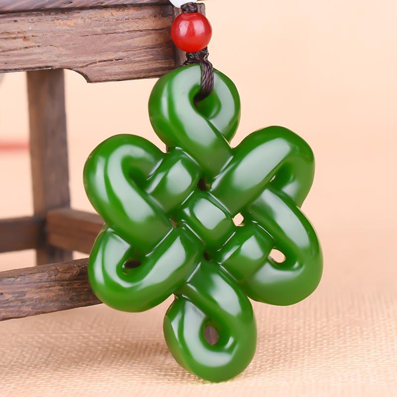 Cinese giada verde nodo Vuoto-fuori donna Collana monili di fascino Accessori Moda Mano-Intagliata Luck Amulet