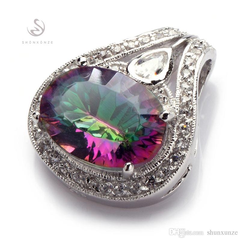 Shunxunze dropshipping karriär bröllop pendlar kvinnor smycken tillbehör charms julklappar regnbåge cubic zirconia rhodin plated r702