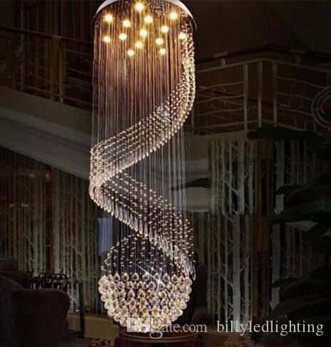 LED Lustres Luminaire longue spirale Hôtel Villa Home Deco Éclairage d'intérieur Salon Crystal Clear Lampe suspendue