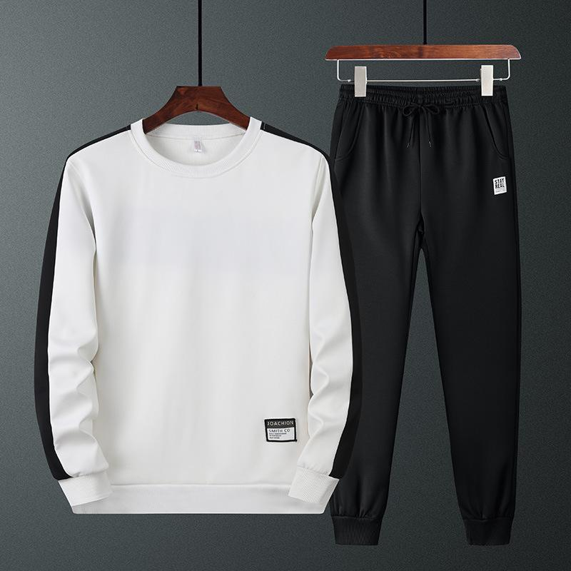 Casual Abbigliamento sportivo Set in stile coreano 2019 Autunno uomini di gioventù di colore del pannello Pullover con cappuccio Giacca Pantaloni due pezzi