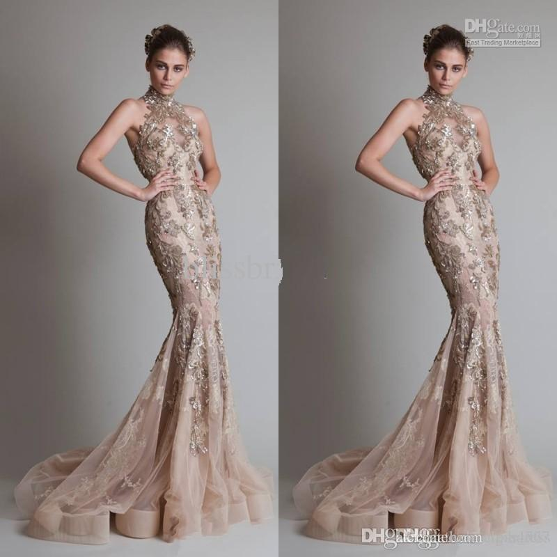 High Neck And Luxurious Silver Appliques Sexy See Through Organza Button Back Mermaid Trumpet Elie Saab Evening Formal Prom Dresses AW335