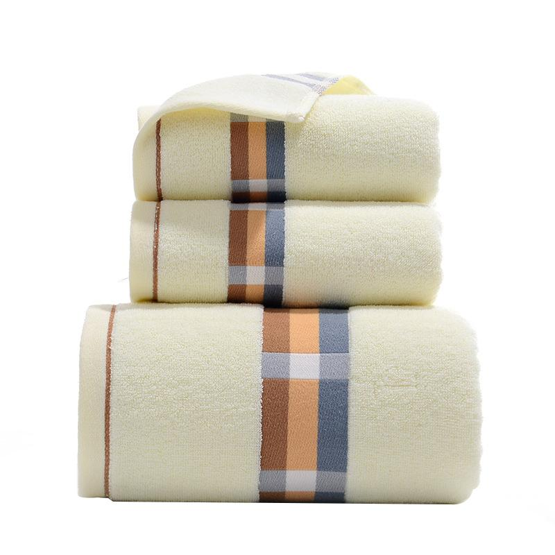 3 Pieces Of Cotton Bath Towel Set Hand Protection Hairdressing Beach Swimming Hot Spring Dry Shower Towel Linen Set Bathro
