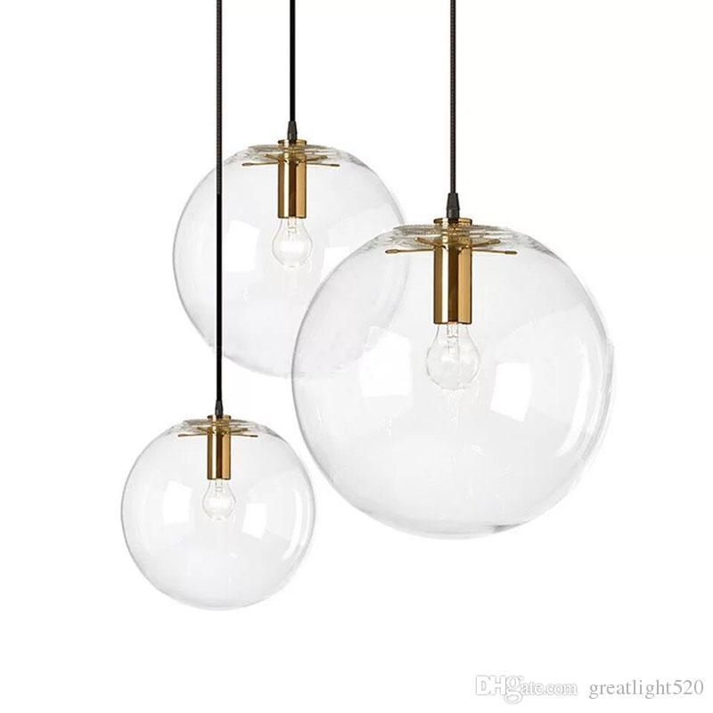 Nórdica Bola de Vidro Pingente de Iluminação Clara Lâmpada Candelabro Globo de Suspensão Globo de Ouro / Cobre / cor Preta