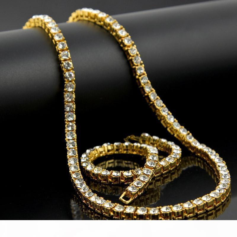 Hip Hop Oro Plata 1 fila de Bling CZ Collares joyería eslabón de la cadena del Rhinestone de Cuba 30 pulgadas los collares de 8 '' Conjuntos de pulsera para hombres