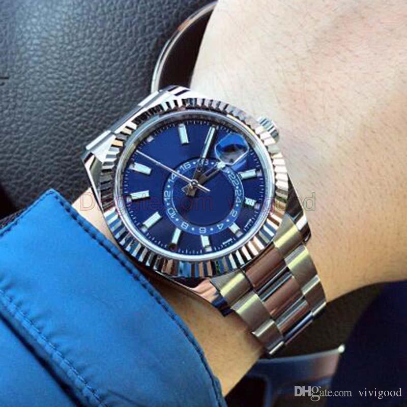 نمط جديد جودة عالية فاخرة ساعة اليد 4 لون 42mm 326934 الفولاذ المقاوم للصدأ الميكانيكية التلقائية رجالي ساعات السماء ووتش