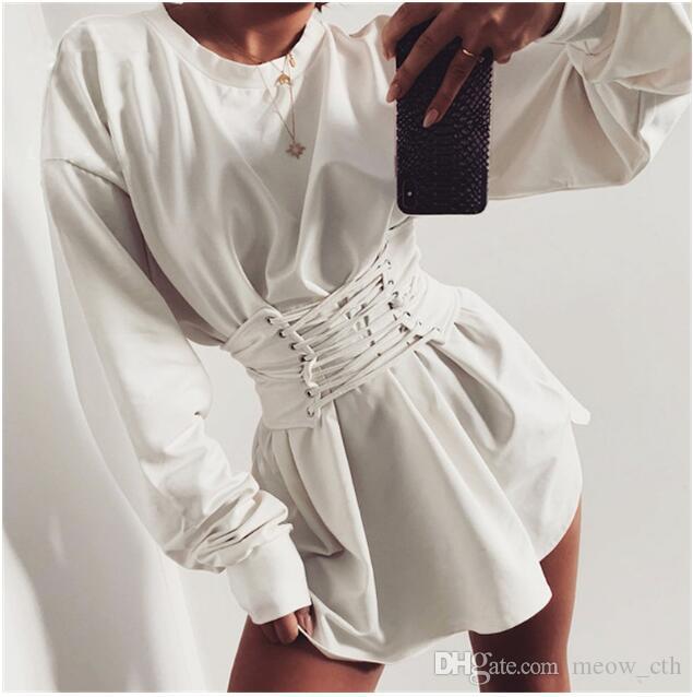 Vestito dalla fasciatura girdling autunno e l'inverno la tunica a maniche lunghe delle donne del vestito street style collo Pullover balestra top cravatta