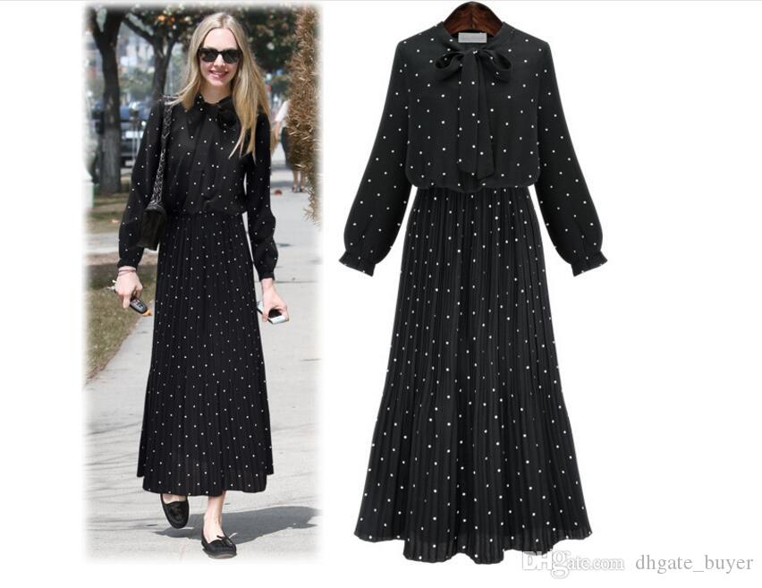 2019 ilkbahar Sonbahar Yeni Kadın Elbise Uzun Kollu Nokta baskılı Elbise Femela Elastik Bel Pileli Elbiseler