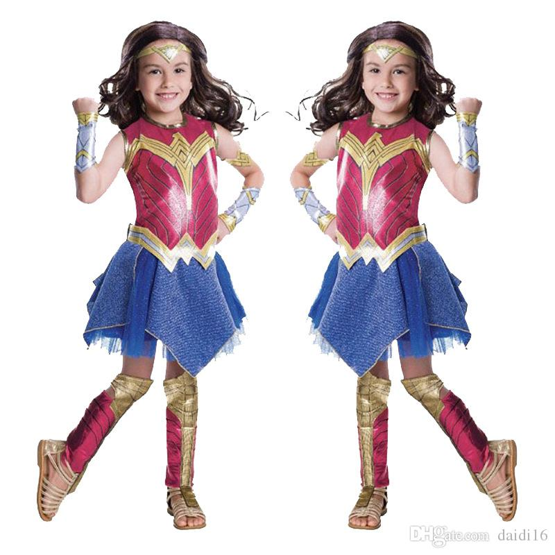 Children performance costumes Deluxe Child Dawn Of Justice Wonder Woman Costume Halloween costumes