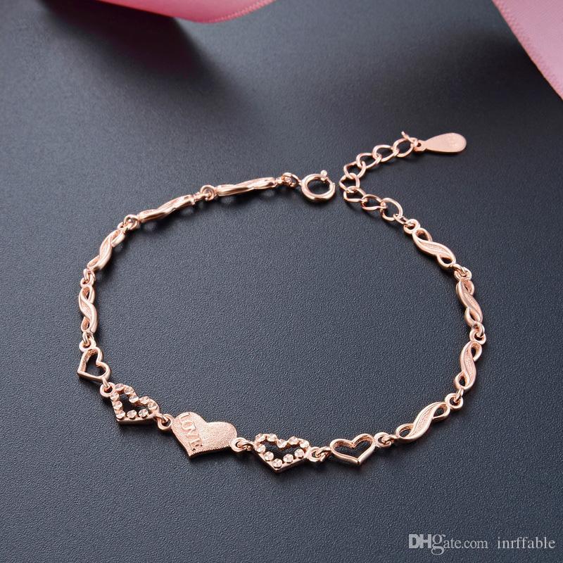 Braccialetto del cuore per le donne 925 Braccialetto in argento sterling 925 Braccialetti di fascino rosa oro colore argento 925 braccialetto gioielli fini