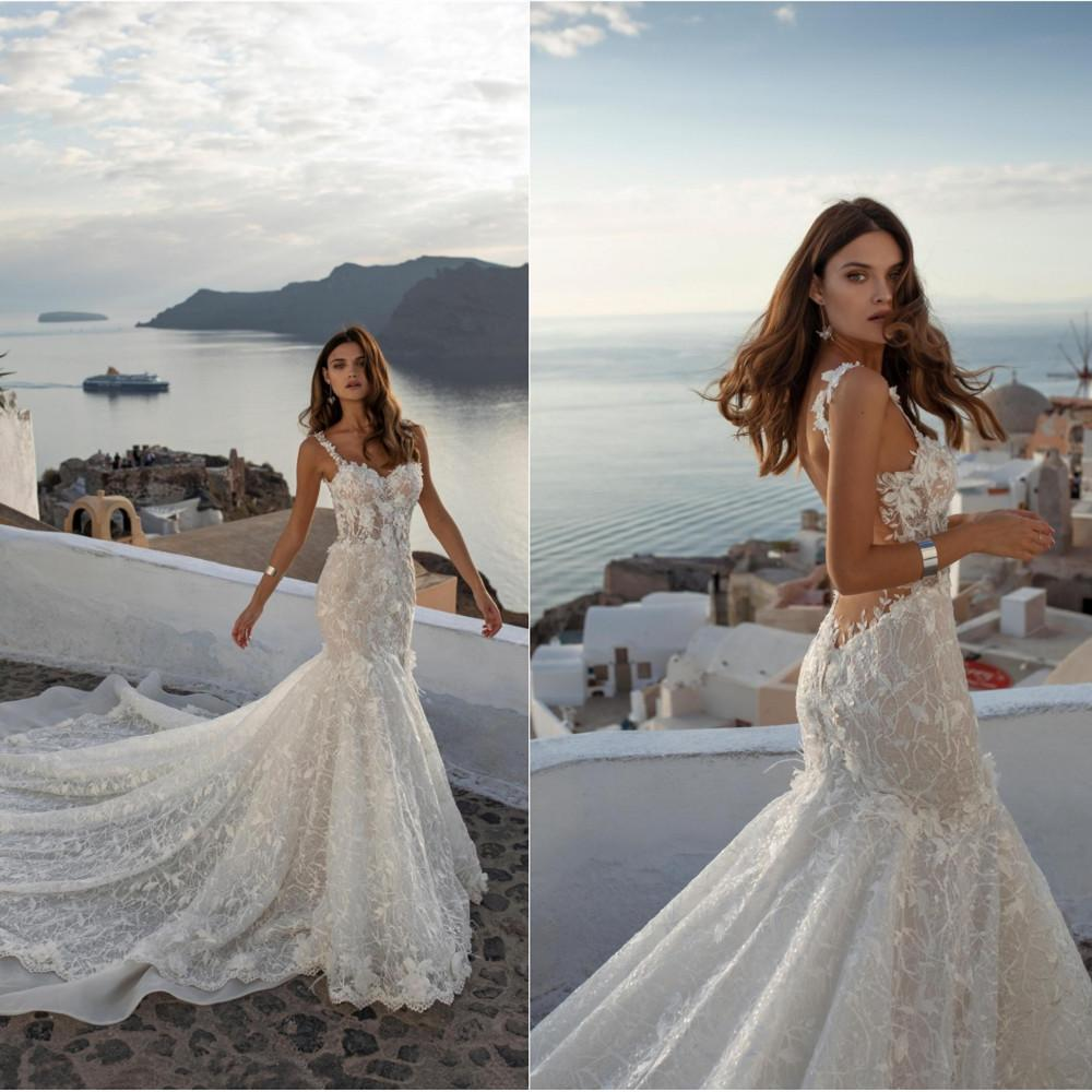 2020 Mermaid Wedding Dresses Spaghetti Straps Lace Applique Beads Bridal Gowns Backless Sweep Train Wedding Dress Robe De Mariee Italian Wedding Dresses Mermaid Lace Wedding Dresses From Newdeve 230 8 Dhgate Com